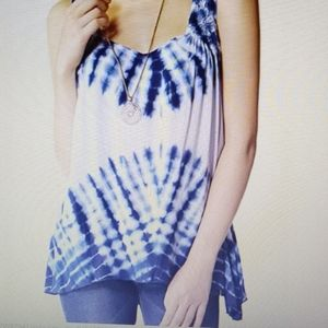 NWT PL Live and Let Live blue tie dye tunic top